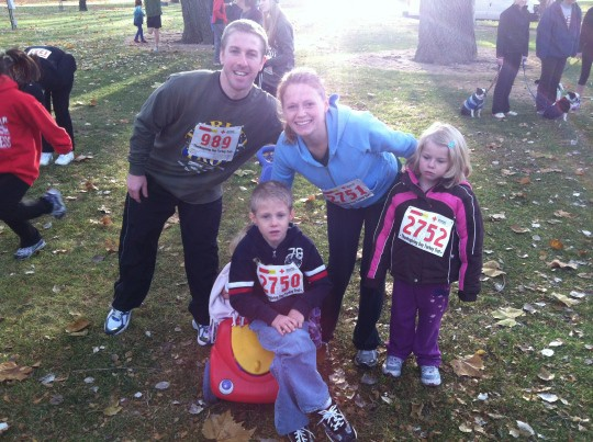 Family Getting Ready for Turkey Trot Last Year (Kids were pumped!)