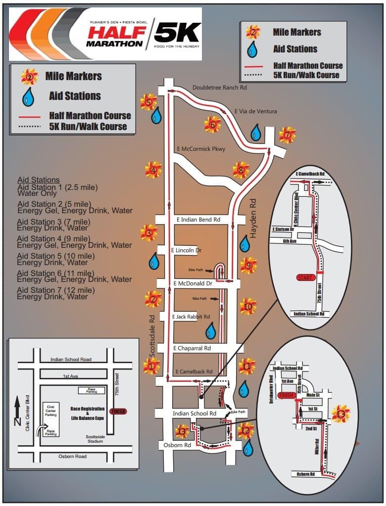Fiesta Bowl Half Marathon Course Map