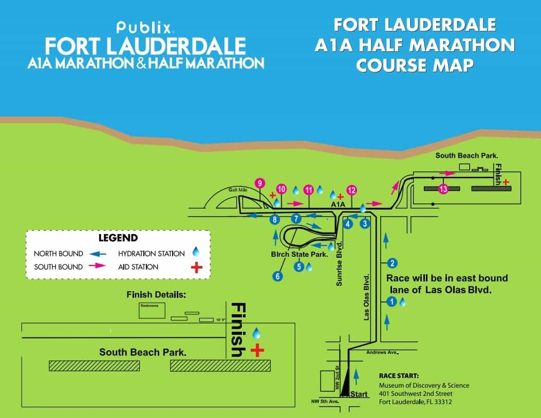 Fort Lauderdale A1A Half Marathon Course Map