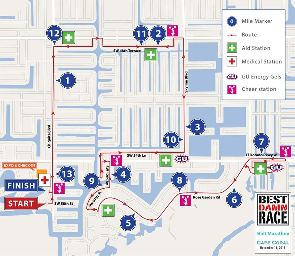 Best Damn Race Cape Coral Course Map