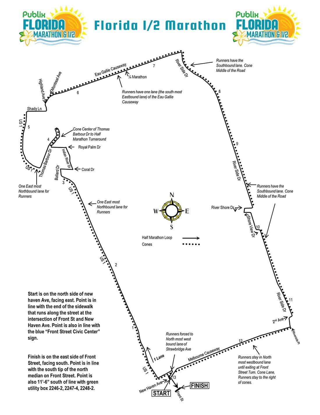 Florida Half Marathon Course Map