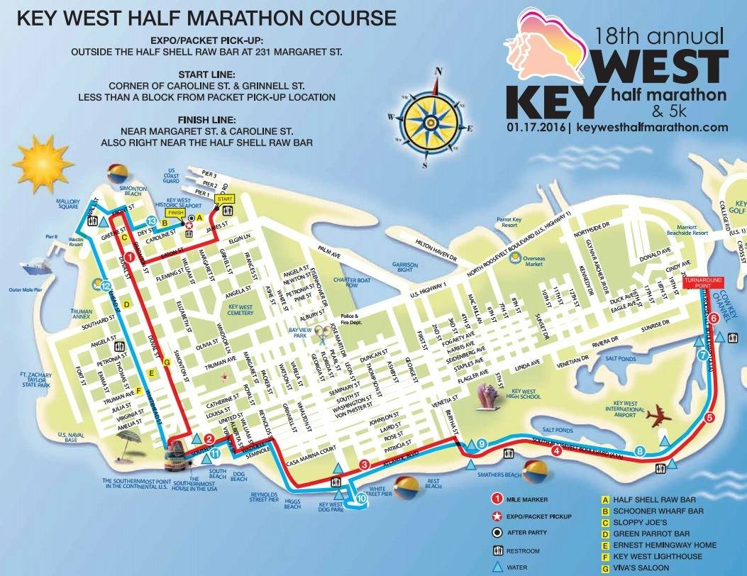 Key West Half Marathon Course Map