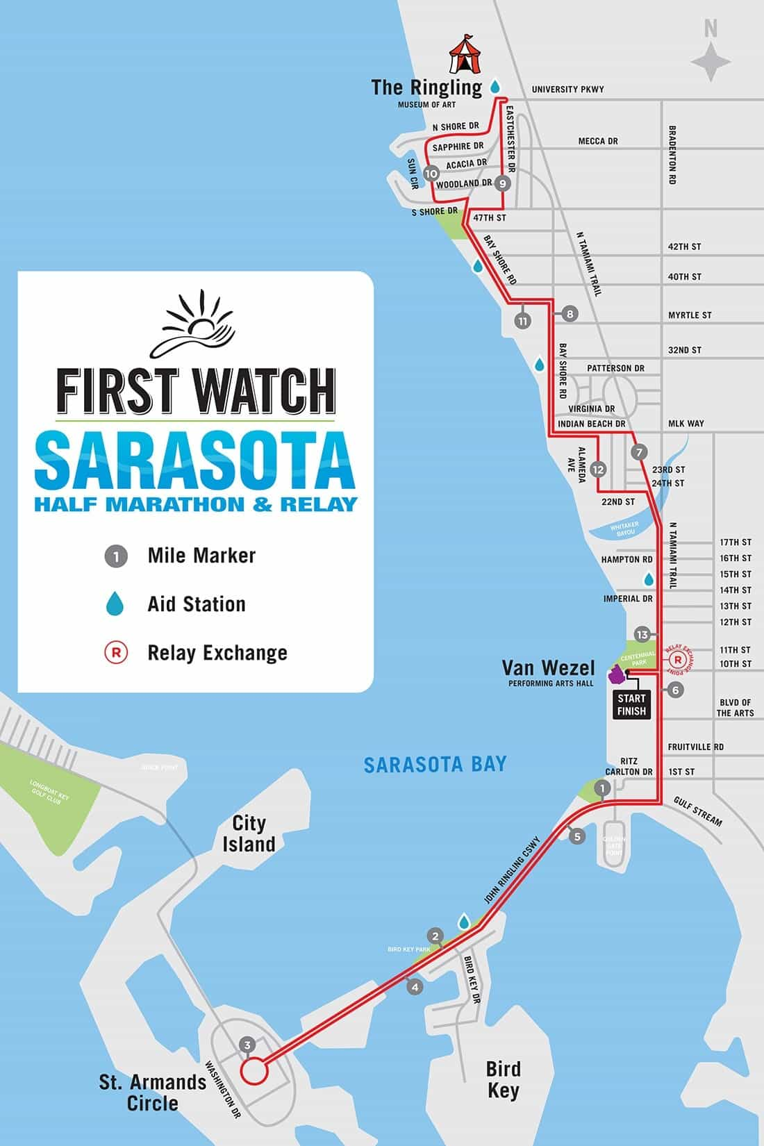 Sarasota Half Marathon Course Map